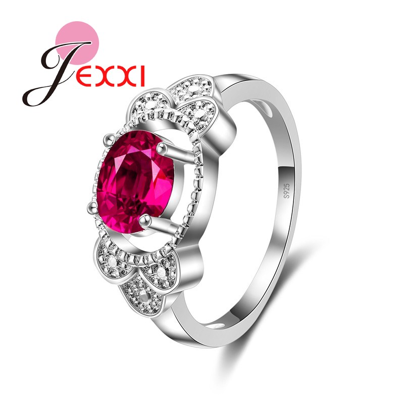 JEXXI Best Quality Fashion Wedding Rose Austria Zircon Crystal Rings Female 925 Sterling Silver Women Engagement Ring Accessory