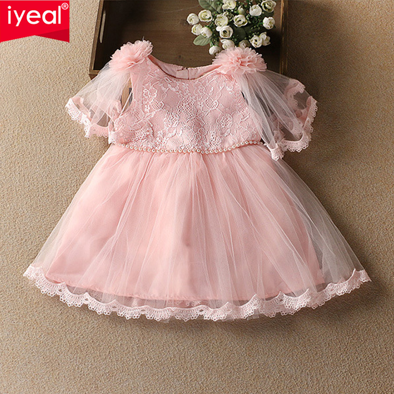 IYEAL Baby Girls Clothing Flower Dress For Little Girl Lace Princess Party Dresses Children Brand Costume Kids Clothes hayden vintage lace flower girls dresses summer costume for teens girl children clothing kids clothes girls party frocks designs