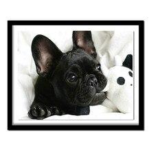 Touoilp diy pintura diamante preto bulldog francês completo cão diamante bordado quadrado & redondo diamante colar padrão contas