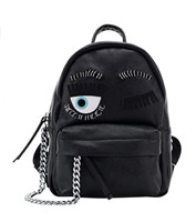 2018 New Cow Leather Backpack Eyelashes Eyes Cool Chain Leather Backpack Luxury Brands Women Bag Genuine Leather Top Designer