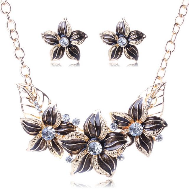 Women Gold Plated Sapphire Austrian Crystal Jewelry Set