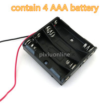 1pc J081 Contain 4 AAA 6V Battery Box Black Color Plastic Mini Model Making Parts Free Shipping Brazil Russia Canada(China)