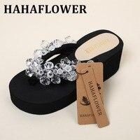 HAHAFLOWER 여름 여성 신발 여성 수제 다이아몬드 모조 다이아몬드 비치 슬리퍼 플랫폼 웨지 신발 하이