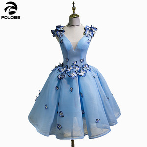 FOLOBE Sky Blue V-neck 3D Butterfly Pleated Ball Gown Party Dresses Women Formal Dress Gowns Vestidos(China)