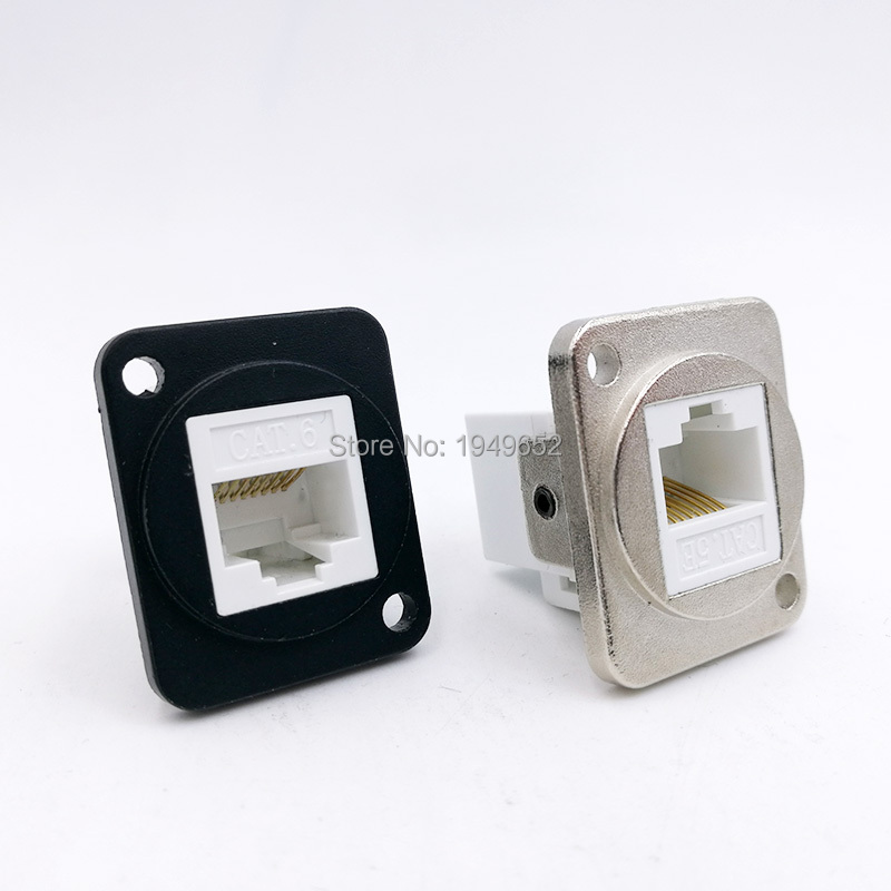 Rj45 Network Connector Metal Panel Socket D Type Mounting CAT5E CAT6