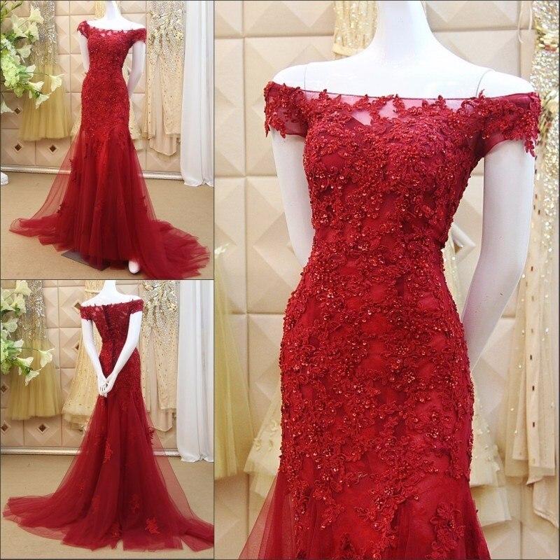 Robes de soirée sirène en dentelle rouge 2019 Abiti Da Cerimonia Donna hors de l'épaule robes de bal sur mesure jamais jolie robe