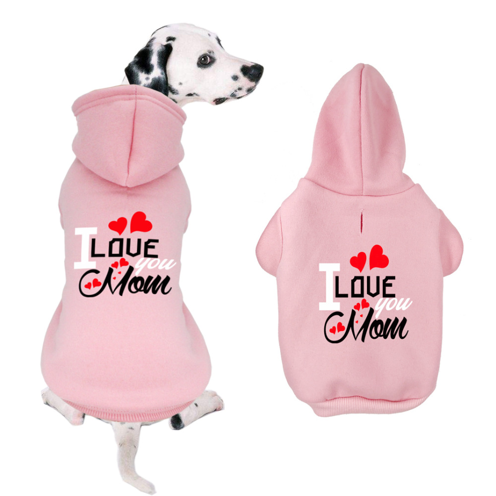 12PCS/lot Love You Mom Printed Pet Hoodies Comfortable Clothing For Small Medium Large Dog Cat Warm Chihuahua Clothes Pet Jacket