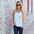 2016 New Womens Blouse Chiffon Fashionable Sequined Pocket Solid Women's Blusas Sleeveless Feminino Causal Elegant Camisas