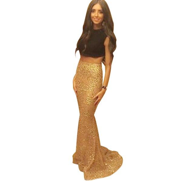 2 piece gold prom dress size