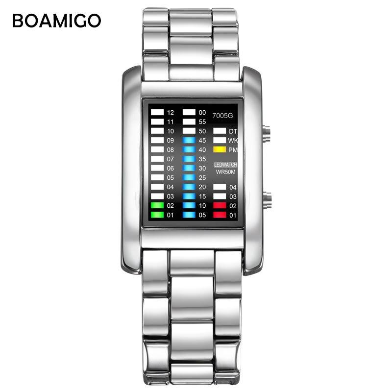 Boamigo Marke Uhr Männer Uhren Kreative Sport Digitale Uhren Stahl Band Armbanduhren Led Wasserdichte Uhr Relogio Masculino
