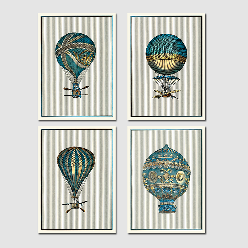 Retro Posters Aircraft Hot Air Balloon Decoration Wall Art Pictures Canvas Paintings For Living Room Home