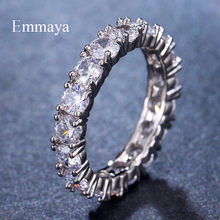 Emmaya White Blue Green Red Zircon Fashion Design Ring Round Silver Color AAA Finger Rings For Women Jewelry Party Gift