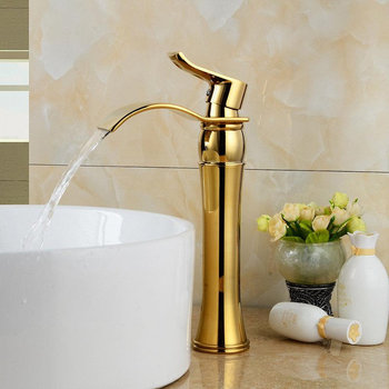 Bathroom Basin Faucet Brass Waterfall Sink Mixer Tap Single Handle Lavatory Deck Mounted Hot & Cold Water Crane Chrome/Gold 9