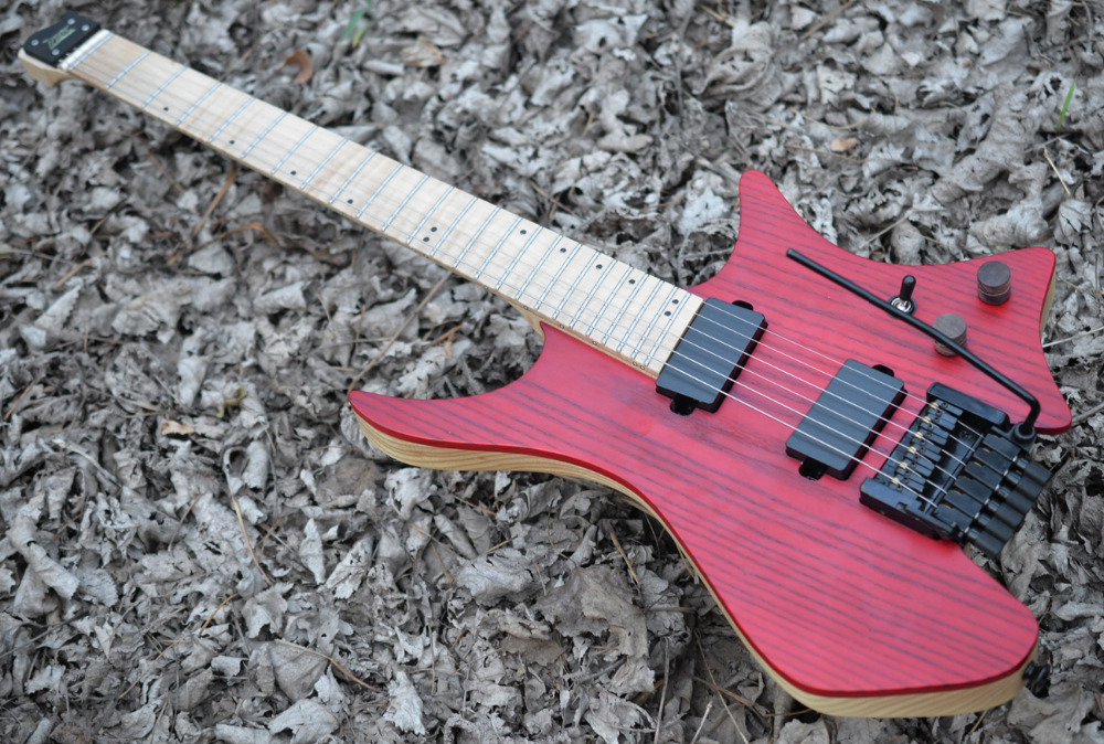 Fanned Fret guitars Headless guitar style Model Red ASH wood Color Flame maple Neck in stock Guitar free shipping