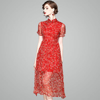 New Arrivals Luxury Elegant Ladies Hot natural silk fashion floral print Chiffon Women Long Dresses High Quality Beach Dress