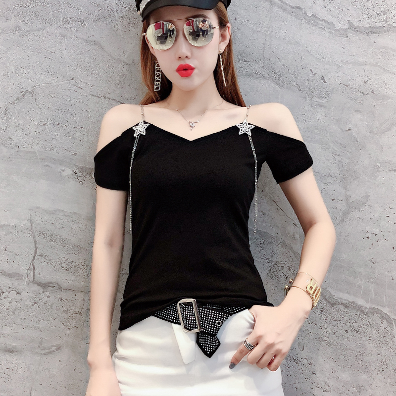 Sexy V-Neck Off Shoulder Double Strap Drill Chain Tshirt 2019 Summer Women Short Sleeve Top Shirt Clothes Camiseta Mujer T96713