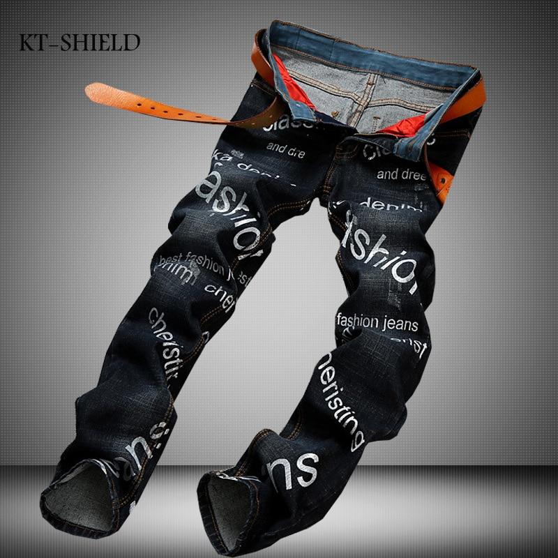 ФОТО High Quality Letter Printed Jeans Men Fashion Denim Mens Biker Jeans New Famous Brand Elastic Skinny Jeans Casual Men Clothing