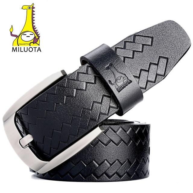 [Miluota] cinturones de moda para los hombres de cuero de vaca genuino correa masculina pin hebilla de la correa de la vendimia de lujo hombre mu061