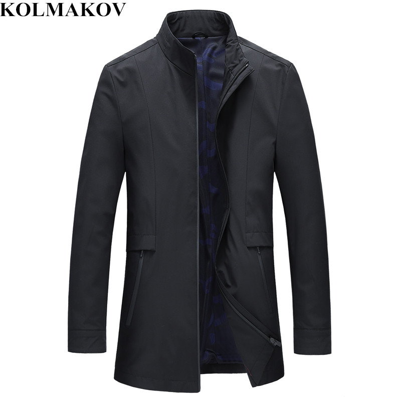 KOLMAKOV New 2019 Men's   Trench   Coats Men Business Jackets Coats Mens Windbreakers Slim High Quality Casual   Trench   Overcoat M-3XL