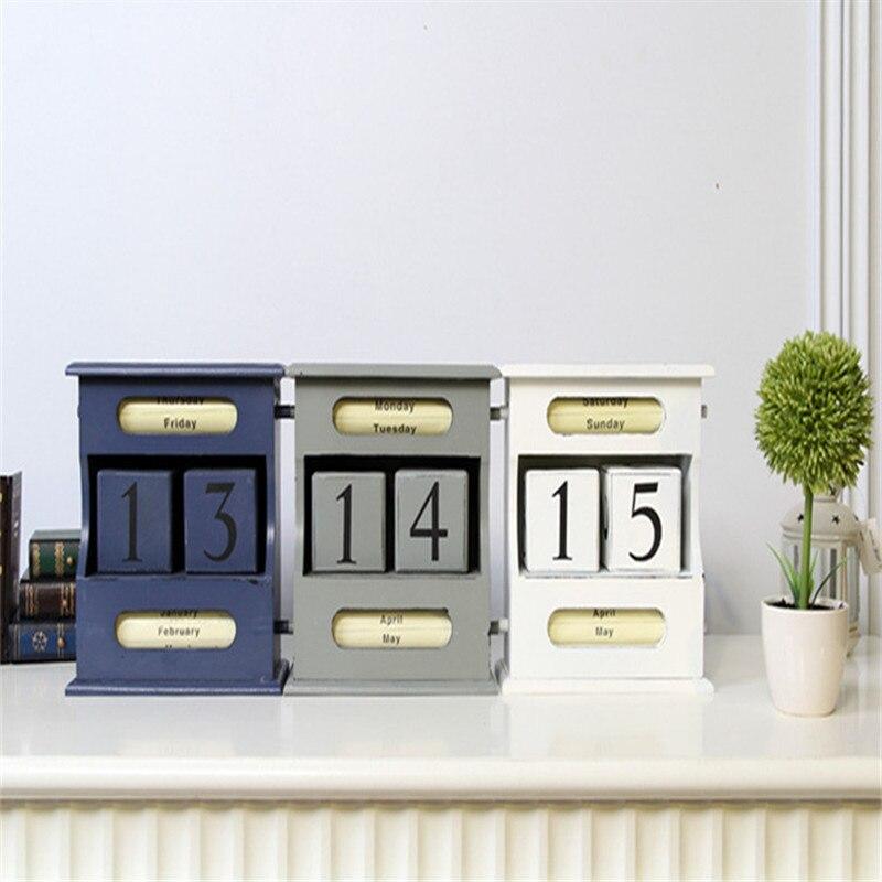 Coloffice Vintage Style méditerranéen bois calendrier perpétuel bricolage calendrier Art artisanat maison bureau école bureau décoration cadeaux
