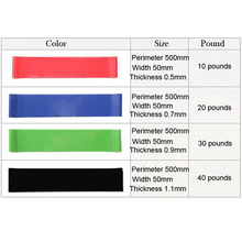 50cm Elastic Tension Resistance Bands 4 Levels Rubber Loops Bands Yoga