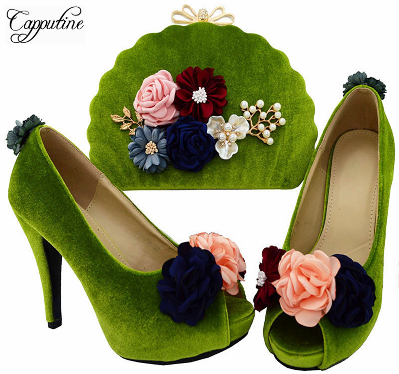 Capputine New Design Italian Appliques Shoes With Bags Set Nice Quality African Pumps Shoes And Bag Sets For Party BL0023 new arrival design italian shoes with matching bags set nice quality african shoes and bag sets with rhinestones hlu1 17