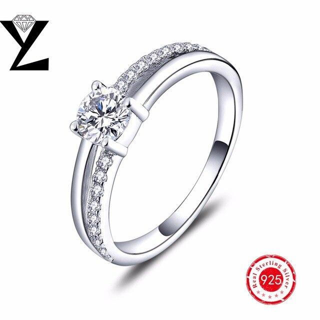 Свадебный Подарок Кольца Стерлингового Серебра 925 Кольцо Обручальное Мода Моделируемых Кубического Циркония Ювелирные Изделия Кольца для Женщин больше Размер Выбрать