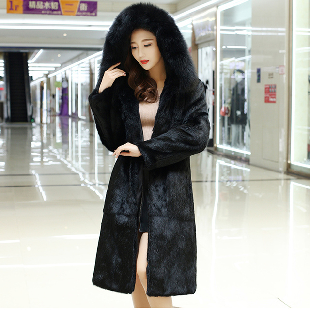 2d026746fd569 X long 100 см большой натуральный Лисий меховой воротник с капюшоном женская  натуральная кроличья меховая шуба уличная одежда зимняя в