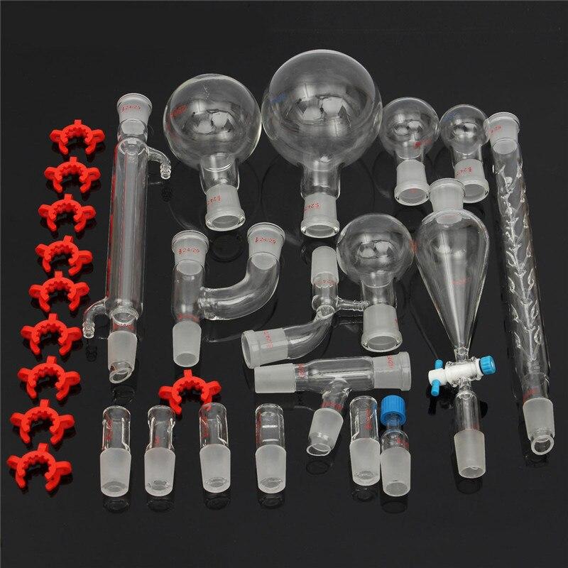 29 pcs Chimique kit de Verrerie de Laboratoire En Verre Ensemble Avec Rodage 24/29 Laboratoire commun en verre ensemble