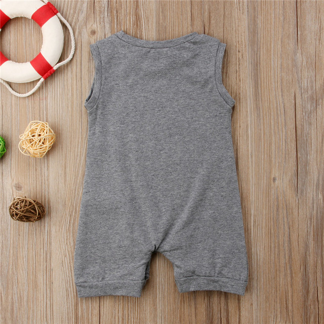 Summer Sleeveless Pocket Cotton Jumpsuit Sunsuit Boy Rompers Clothing Casual Cute Clothes 0-24M Toddler Kids Baby Boys Romper 3