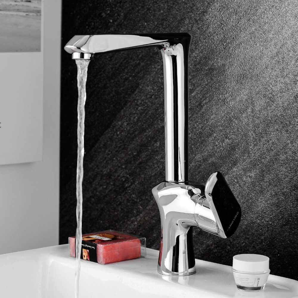 360 obrót wylewka nowoczesny mikser kuchenny dotknij mosiądz polerowany pojedynczy uchwyt umywalka kran do łazienki Deck Mounted