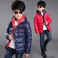 2016 Inverno Crianças Jacket & Brasão Para Meninos New Arrivals Moda Com Capuz Outwear Crianças Casaco Para Baixo Acolchoado-Algodão Menino roupas Outwears