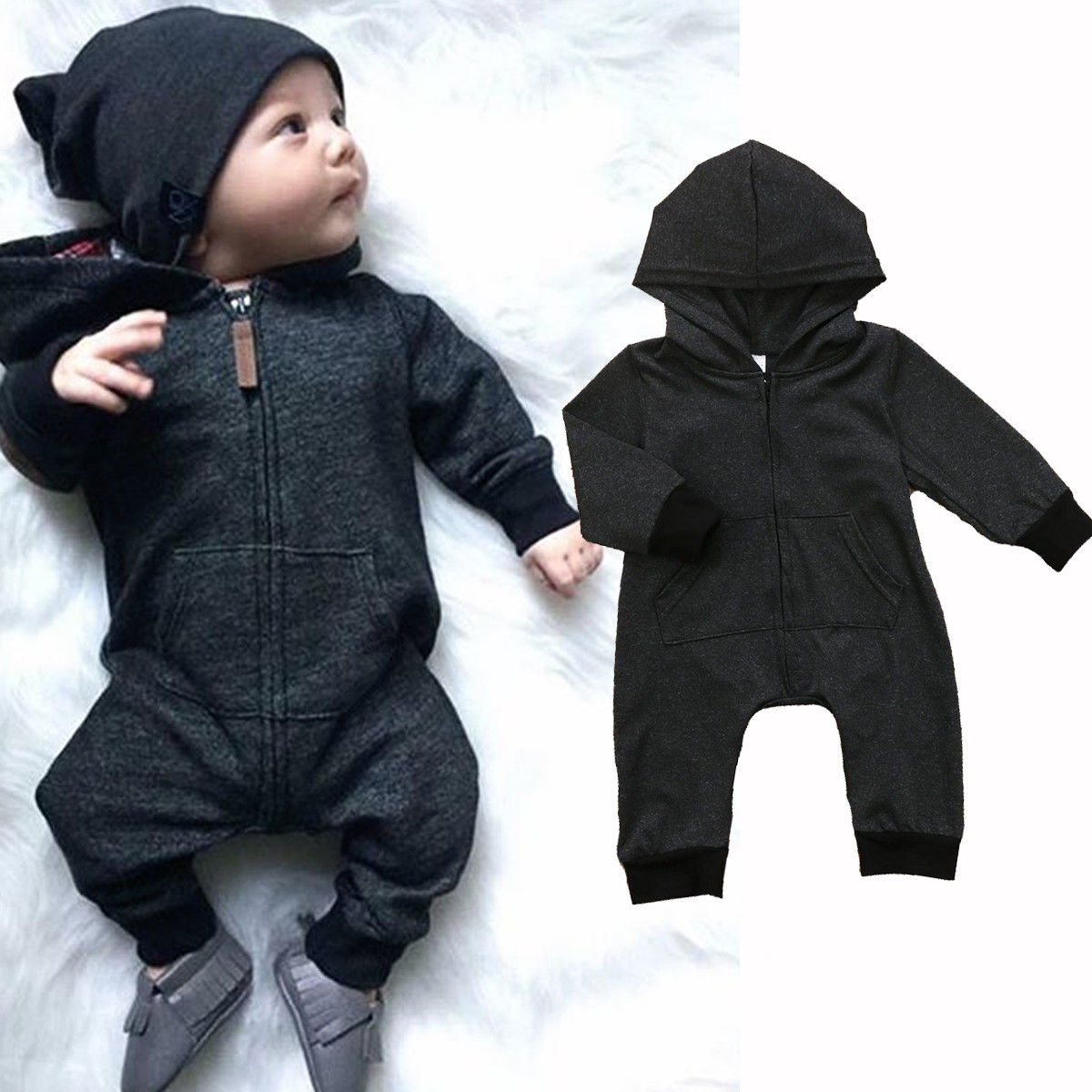 2018 Newborn Infant Baby Boy Girl Clothes Kids Hooded Cotton Zipper Romper Jumpsuit Body ...