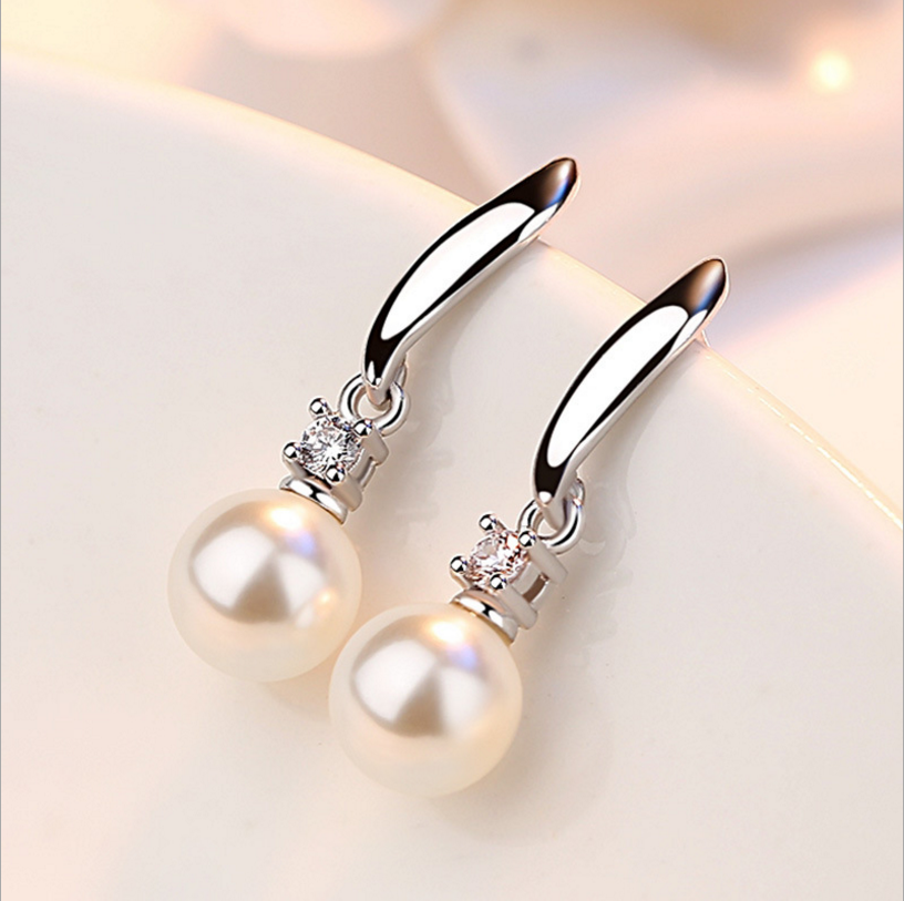 Elegant Fashion 925 Sterling Silver Drop Earrings Imitation Pearl Zircon Tassel CZ brincos Earrings For Women Jewelry S-E183