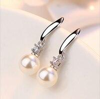 Elegant Fashion 925 Sterling Silver Drop Earrings Imitation Pearl Zircon Tassel CZ brincos Earrings For Women Jewelry S-E183