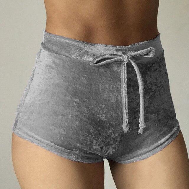 Velvet Drawstring Shorts Casual High Waist Spring Summer Sexy Skinny Short Pants 33