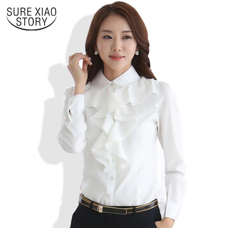 2015 New Arrival Chiffon Long Sleeve   Shirt   Korean Style Fashion Ruffles Ladies White Black Office   Blouses   Women Clothes 8C81