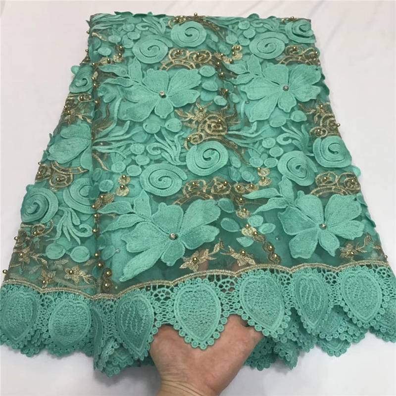 VILLIEA Afrikaanse zwitserse voile lace Hoge Kwaliteit 2018 beste afrikaanse guipure Groen koord kant stof voor franse kant bruiloft-in Kant van Huis & Tuin op  Groep 1