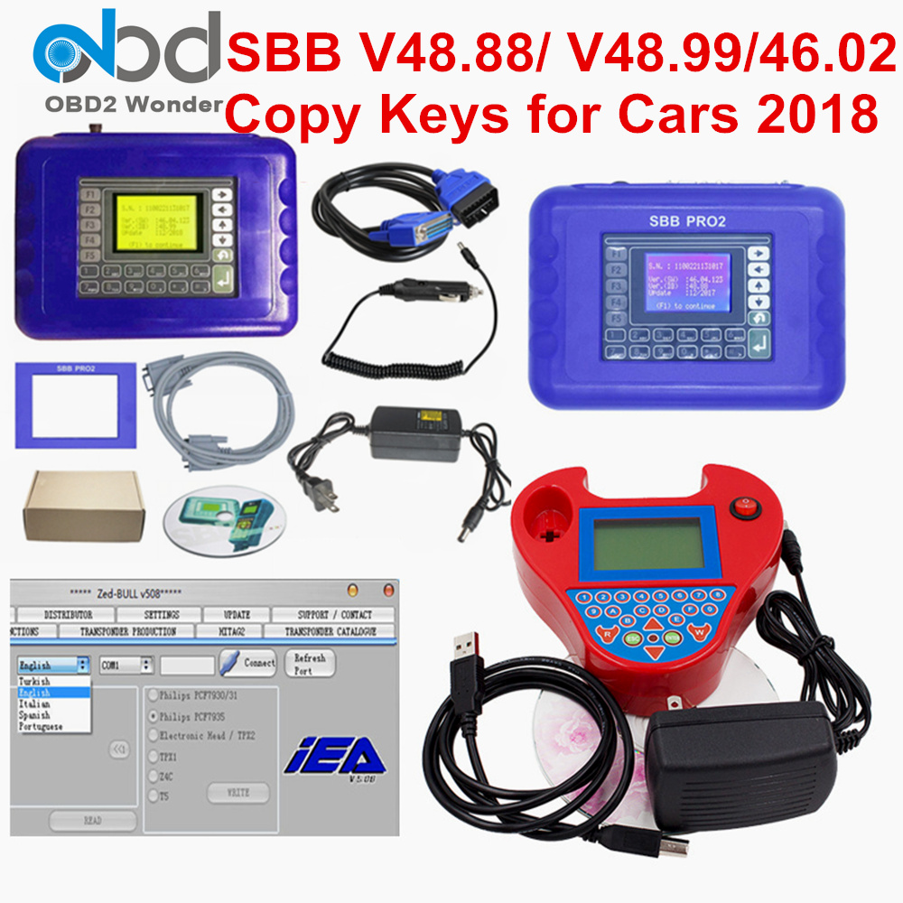 2019 SBB Pro2 V48.88 V48.99 V46.02 + Mini Zedbull Auto Key Programmer SBB Pro 2 48.88 48.99 Version Zed Bull OBD2 Key Maker(China)