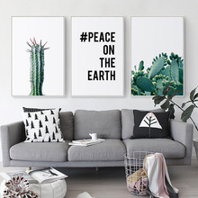 Elegant Poetry Stingy Green Cactus Plant Abstract Motto Canvas Painting Art Print Poster Picture Paintings Home Wall Decoration motto print cloth art