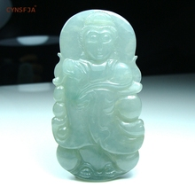 CYNSFJA Real Rare Certified Natural Grade A Burmese Jadeite Mens Amulets Charms Guanyin Jade Pendant Ice Green Hand-carved High Quality Fine Jewelry Best Gifts