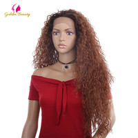 Golden Beauty Kinky Curly Heat Resistant Fiber Lace Wig Ombre Long 26 inches Free Part Synthetic Lace Front Wigs for Women