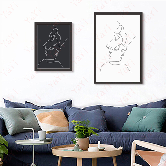 Baiser Picasso Minimaliste Art Toile Affiche Peinture Noir Blanc