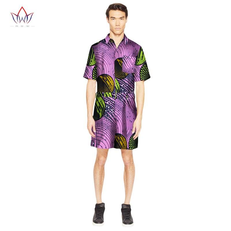 Mode d'été hommes africain traditionnel imprimé coton Dashiki hommes combinaison vêtements col rabattu hommes combinaisons ATN313