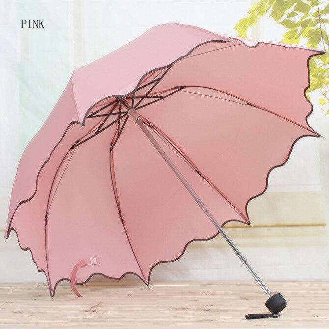מקפץ שלוש מתקפל לא אוטומטי לוטוס משאיר גל חמוד הנסיכה כיפה שמשיה יום ראשון גשם נשים הגברת נקבה מבוגרים מטריה