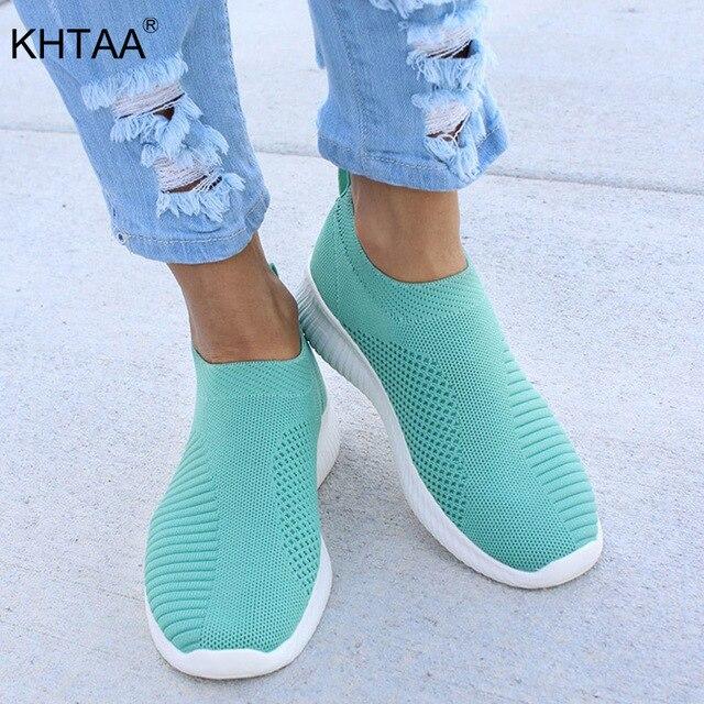 Artı Boyutu Kadın Sneakers Vulkanize Örgü Streç Düz Platformu Moda Bayanlar Üzerinde Kayma Çorap Ayakkabı Ayakkabı Drop Shipping