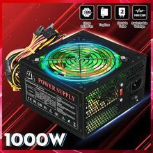1000 Вт 110~ 220 В блок питания PSU PFC 12 см светодиодный бесшумный вентилятор ATX 24pin 12 в компьютер SATA игровой блок для Intel AMD настольный компьютер