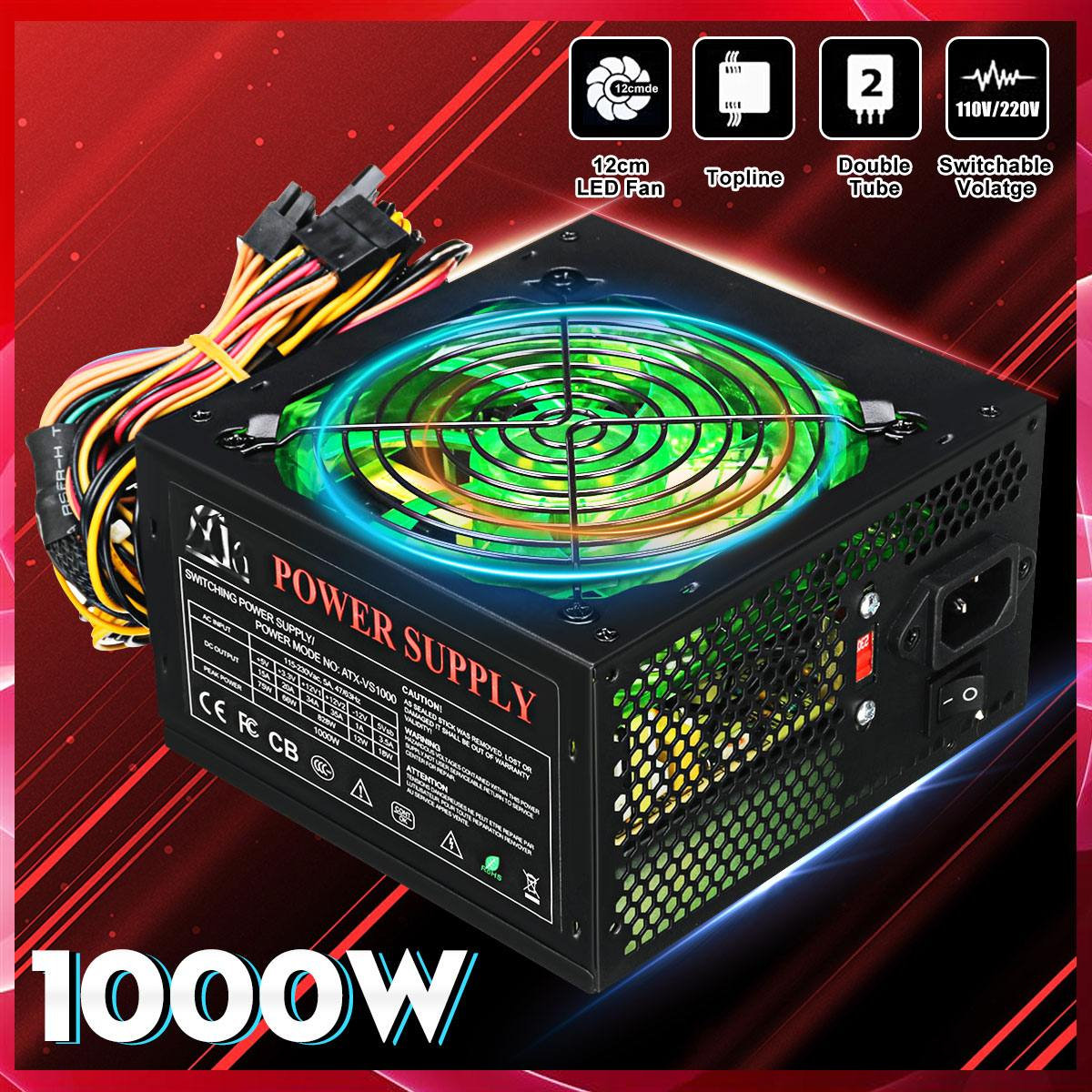 1000W 110~220V Power Supply PSU PFC 12cm LED Silent Fan ATX 24pin 12V PC Computer SATA Gaming Supply For Intel AMD Desktop|PC Power Supplies| |  - title=