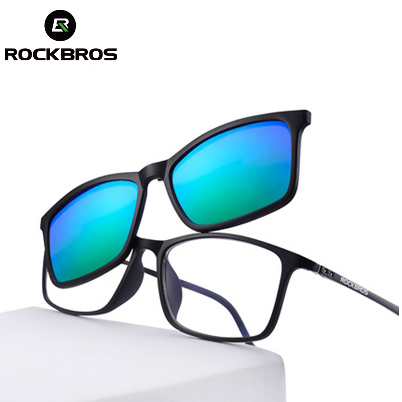 ROCKBROS Bicycle Customized Myopia Sunglasses UV400 Nearsighted Glasses Double Lens Polarized Lens Cycling Bike Bicycle Eyewear rimless sunglasses ultra light crystal diamond glasses myopia sunglasses women can be customized bright reflective polarizer