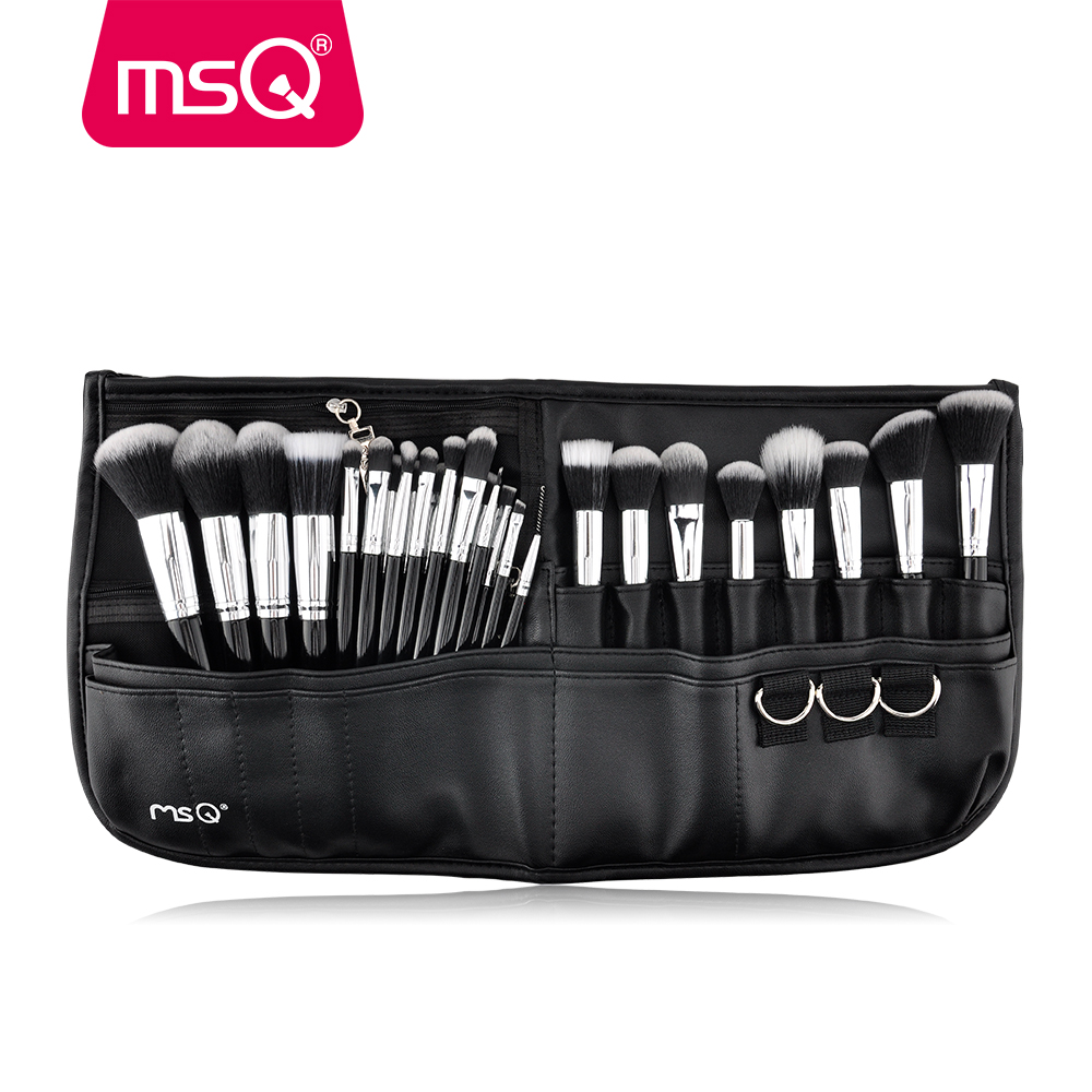 MSQ 29pcs Makeup Brush Set Pro Cosmetic Brushes Set With High Quality PU leather Case Fashion Makeup For Beauty msq professional 15pcs makeup brushes set soft synthetic hair natural wood handle with pu leather case for beauty fashion tool